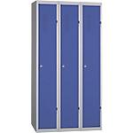 Vestiaire Industrie Propre monobloc 3 colonnes 900 x 500 x 1800 mm Bleu