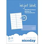 Étiquettes d'adresses Niceday Laser  Blanc 1600 étiquettes 100 feuilles de 16 étiquettes