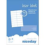 Étiquettes d'adresses Niceday Blanc 37 x 105 mm 100 Feuilles de 16 Étiquettes