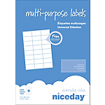 Étiquettes multifonctions Niceday 980460 Blanc 2400 étiquettes 100 feuilles de 24 étiquettes