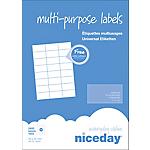 Étiquettes multifonctions Niceday 980461 Blanc 2400 étiquettes 100 feuilles de 24 étiquettes