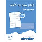 Étiquettes multifonctions Niceday 980466 Blanc 1400 étiquettes 100 feuilles de 14 étiquettes