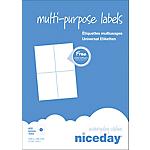 Étiquettes multifonctions Niceday 980470 Special format Blanc 105 x 148 mm 100 Feuilles de 4 Étiquettes