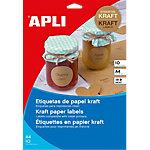 Etiqueta adhesiva APLI 17376 A4 marrón kraft 10 hojas de 1 etiqueta