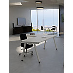 Mesa operativa de oficina ALFA gris claro, patas aluminio 800 x 600 x 750 mm