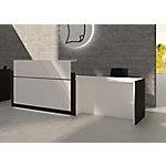 Mostrador y mesa atención personalizada S blanco, patas nogal 2.380 x 1.100 x 780 mm