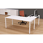 Mesa operativa de oficina NEMO roble claro, patas blanco 1.800 x 800 x 750 mm