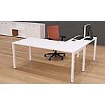 Mesa operativa de oficina NEMO roble claro, patas blanco 2.000 x 800 x 750 mm