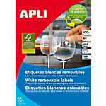 Etiqueta adhesiva removible APLI blanco 16,9 x 48,5 mm 68 hojas de 100 etiquetas