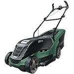 Cortacésped rotativo Universal Rotak 550 Motor Power Drive 1300W 37cm Frontal color aluminio Asas ergonómicas BOSCH 06008B9100