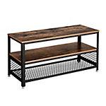 Mueble para TV con 2 estantes color vintage y estructura negra mate 100x40x52 cm