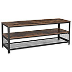 Mueble para TV con 2 estantes color marrón rustico y estructura de hierro negra 140x40x52 cm