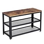 Zapatero de 3 niveles con tablero de madera y marco de metal color vintage y negro 73x30x45 cm