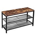 Zapatero con 2 niveles,  con tablero de madera y marco de metal color marrón rustico 80x30x44,5 cm