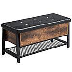 Banco para zapatos con asiento acolchado y estante, marco de hierro resistente, marrón rustico 100x40x47 cm