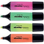 Marcador fluorescente Niceday HC punta biselada colores surtidos 4 unidades