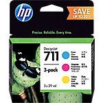 Cartucho de Tinta HP 711, Original, Tinta a base de pigmentos, Cian, Magenta, Amarillo, HP, HP DesignJet T120 and HP DesignJet T520 ePrinter series, Impresión por inyección de tinta P2V32A