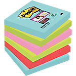 Notas adhesivas Post it 76 x 76 mm ola marina, verde neón, rosa neón, amapola 6 unidades de 90 hojas