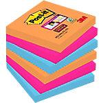 Notas adhesivas Post it 76 x 76 mm naranja neón, rosa fucsia, azul mediterráneo 6 unidades de 90 hojas