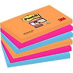 Notas adhesivas Post it 127 x 76 mm naranja neón, rosa fucsia, azul mediterráneo 6 unidades de 90 hojas