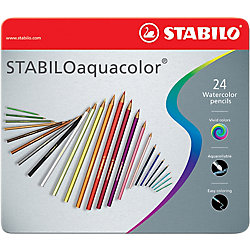 Lápices de color acuarelables STABILO Aquacolor colores surtidos 24unidades