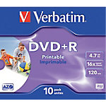 DVD+R grabable Verbatim , 4,7 GB, DVD+R, 120 mm, 10 pieza(s), Caja de joyas, 16x 43508