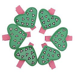 Pinza de madera Smart Wall Paint forma corazón verde 6 unidades