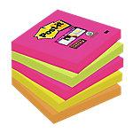 Notas adhesivas Post it 76 x 76 mm amarillo neón, naranja neón, rosa neón, verde neón 5 unidades de 90 hojas
