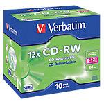 CD RW Verbatim 12x, , 700 MB, 10 pieza(s), 80 min, 12x, Caja de joyas 43148