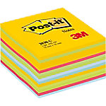 Notas adhesivas en cubo Post it 76 x 76 mm amarillo, verde, verde neón, azul, azul claro, azul oscuro, fucsia 450 hojas