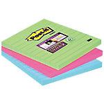 Notas adhesivas Post it 101 x 101 mm verde, rosa, azul 3 unidades de 70 hojas