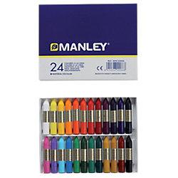 Crayones de cera blanda Manley surtido 24 unidades