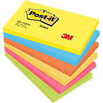 Notas adhesivas Post it 127 x 76 mm amarillo neón, azul ultra, naranja neón, fucsia, verde neón 6 unidades de 100 hojas