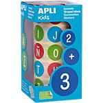 Gomets redondos ABC en rollo APLI 15126 colores surtidos 900 unidades