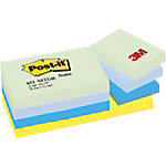 Notas adhesivas Post it 51 x 38 mm verde pastel, azul cielo, azul retro, amarillo neón 12 unidades de 100 hojas