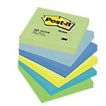 Notas adhesivas Post it 76 x 76 mm amarillo neón, azul cielo, azul retro, azul ultra, verde ultra, verde pastel 6 unidades de 100 hojas