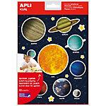 Gomets temáticos removibles APLI Sistema Solar colores surtidos 12 hojas