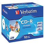 CD R Verbatim AZO Wide Inkjet Printable, , 700 MB, 10 pieza(s), 80 min, 52x, Caja de joyas 43325