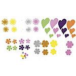 Figuras adhesivas Smart Wall Paint flores y corazones con purpurina colores surtidos goma eva 64 unidades