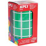 Gomets cuadrados en rollo APLI Verde 1770 etiquetas por paquete