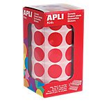 Gomets redondos en rollo APLI Rojo 1770 etiquetas por paquete