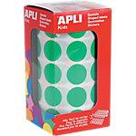 Gomets redondos en rollo APLI Verde 1770 etiquetas por paquete