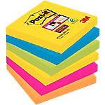 Notas adhesivas Post it 76 x 76 mm amarillo, azul mediterráneo, verde neón, rosa fucsia, naranja neón 6 unidades de 90 hojas