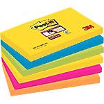 Notas adhesivas Post it 127 x 76 mm amarillo, azul mediterráneo, verde neón, rosa fucsia, naranja neón 6 unidades de 90 hojas
