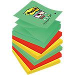Notas adhesivas Post it 76 x 76 mm verde, rojo, amarillo, violeta 6 unidades de 90 hojas