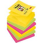 Notas adhesivas Post it 76 x 76 mm amarillo, verde neón, rosa fucsia 6 unidades de 90 hojas