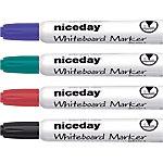 Marcador de pizarra blanca Niceday WBM2.5 punta cónica 2.5 mm colores surtidos 4 unidades