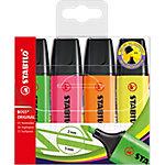 Marcador fluorescente STABILO Boss Original punta biselada colores surtidos 4 unidades