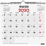 Calendario mural Finocam 1 mes por página 2020