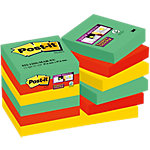 Notas adhesivas Post it 48 x 48 mm verde, rojo, amarillo 12 unidades de 90 hojas